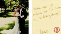 Zeigt eine Kundin mit Mann der Bodybalancing AG die abnehmen für die Hochzeit tut