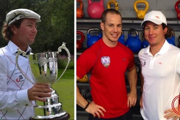 Roger Furrer mit Pokal an den Majors und zusammen mit seinem Golf Personaltraining Coach Beni Bachmann